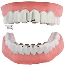 New Custom Fit Silver Plated Hip Hop Teeth Grillz Caps Top & Bottom Grill Set