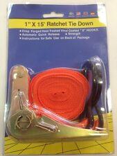 "Ratchet Straps Tie Down 1"" X 15ft Automatic Quick Release Truck Retractable Cord"