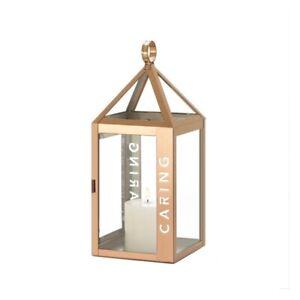 Caring Etched Rose Metal Candle Lantern