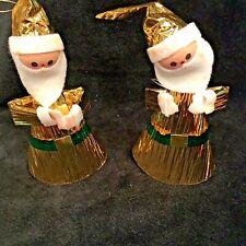 "2 Vintage Santa Claus Ornaments Gold Foil Cardboard Cone Felt beard 5"""