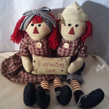 Raggedy Ann &  Andy Doll Vintage Fabrics Hand Crafted very Unique