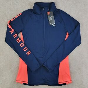 Under Armour ColdGear Blue 1/2 Zip Graphic Fitted Pullover Womens Small Thumbhol
