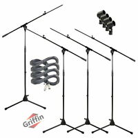 GRIFFIN Microphone Boom Stand 4PACK Holder Mount XLR Cable Mic Clip Stage Studio