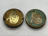 Antique Lot Of 2 RARE LA-MAY FACE POWDER TINS / Empty / Gold And Blue AS IS