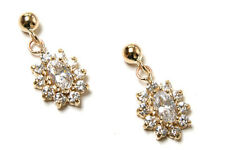 9ct Gold CZ Cluster Drop earrings Gift Boxed Made in UK
