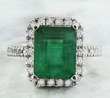 3.60 Carat Genuine Emerald 14K Solid White Gold Diamond Ring
