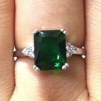Sparkling Princess Green Emerald Ring Women Jewelry 14K Gold Plated Nickel Free
