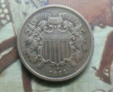 1864 US Civil War 2 cents large motto, small die crack going through the date