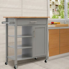 Wheels Kitchen Trolley Cart Rolling Storage Cabinet Wooden Island Table 3Shelves