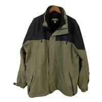 Eddie Bauer Mens Jacket Green Black Zip Up Fleece Lined Mock Neck Long Sleeve XL