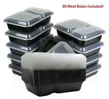 20pc Microwave 2 Compartment Plastic Lunch Box Food Storage Meal Prep Container