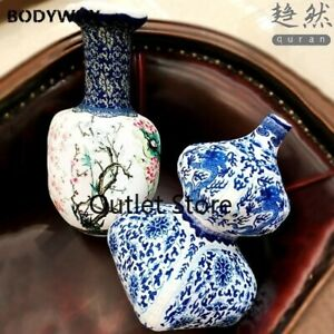 Blue and White Porcelain Doll Antique Gourd Bottle Decoration  Plush Pillow