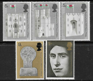 GREAT BRITAIN GB 1969 PRINCE CHARLES INVESTITURE Set 5v MNH