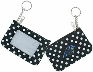 Carolina Panthers Football NFL Nylon Polka Dot Zippered Coin Purse Key Ring