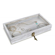 Mooca Natural Wood Glass Top Jewelry Display Case Accessories Storage Box With