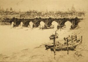 George Huardel-Bly etching; Waterloo Bridge, pencil signed proof 1920's