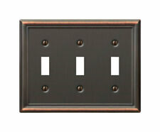 Amerelle  Chelsea  Aged Bronze  3 gang Stamped Steel  Toggle  Wall Plate  1 pk