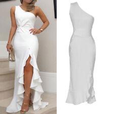Womens Long Ruffles One Shoulder Evening Dresses High Slit Formal Party Dress