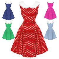 Dolly & Dotty Sally Polka Dot Retro Vintage 1950s Nautical Sailor Pinup Dress UK