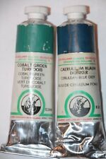 VINTAGE Old Holland Classic Ground Oil Paint COBALT GREEN TURQUOISE & CERULEAN