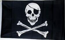 3' x 5' Nylon Black Jolly Roger Pirate Flag New Skull and Crossbones
