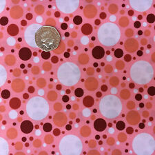 Pink BG Multi Size Spots Dotty MultiColoured Dots Fabric Craft Quilts Material