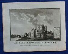 Original antique print CASTLE RUSHEN, ISLE OF MAN, Boswell, 1786