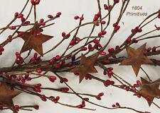 "52"" Primitive Pip Berry Garland w/ Rusty Dimensional Stars ~ RED"