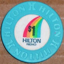Old $1 HILTON Casino Poker Chip Vintage Antique House Mold Reno NV 1981