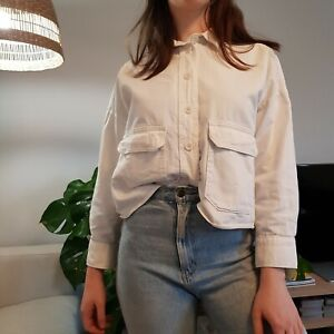 Women's Monki Size S White Long Sleeve Workwear Blouse