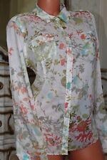 ORVIS Super Soft 100% cotone Donna Semi Aderente Floreale Camicia Blusa Top taglia L