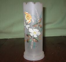 GLASS VASE ENAMELED HAND PAINTED CRIMPED TOP MILK GLASS