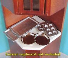 6 pc Tin Pan Set Muffin, Pie or Cake Pans & Cookie Sheet Miniature Baking Set