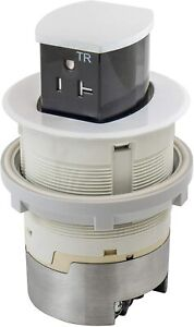 Hubbell RCT220W 20A 125V Tamper Resistant White Pop-Up Countertop Receptacle