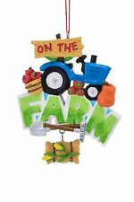 On the Farm Tractor Christmas Ornament with Tomatoes and Hay - Green