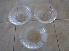 "KIG~Indonesia~Fleur Pattern~7"" Clear Glass~Salad/Cereal Bowls~Lot of 3"