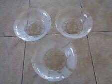 "KIG~Indonesia~Fleur Pattern~7"" Clear Glass~Salad/Cereal Bowls~Lot of 3"