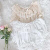 Japanese Womens Summer Lolita Lace Blouse Bubble Sleeve Off Shoulder Basic Tops