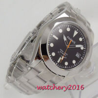 40mm PARNIS black dial Sapphire glass 21 jewels Miyota 8215 automatic mens watch