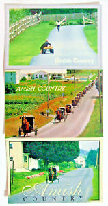 Postcards (3) - AMISH COUNTRY, PENNSYLVANIA, BUGGY, FUNERAL, CHILDREN (LAR2-9)