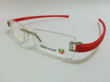 Tag Heuer Rimless Frame, Eye-Glass, Eye-Wear Silver Red