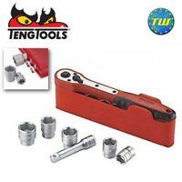 Teng 13pc 1/4in Drive Socket Set 6 Point 4-13mm FRP Ratchet Pocket Case M1413N1