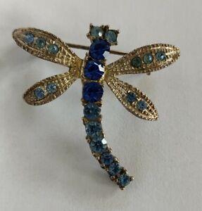 Vintage rhinestone dragonfly brooch