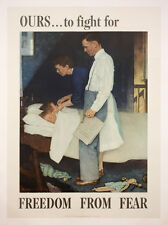 Original Vintage WWII Norman Rockwell Poster Freedom from Fear 1943