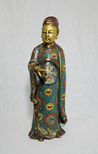 Chinese  Bronze  Cloisonne  Statue  Of  Scholar