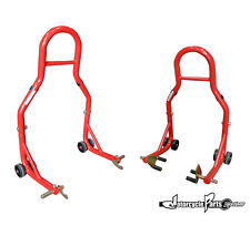 Motorcycle Stand Red Front and Rear Swingarm Spool Wheel Lift Universal Bike