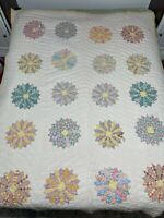 Vintage 1930's Dresden Plate  Quilt Hand Quilted  85x 66 Feed sack Animal Floral