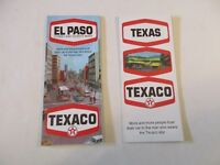 Lot of 2 Texaco 1969 El Paso City & Texas State Oil Gas Station Travel Road Maps