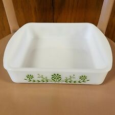 Vintage Glasbake Cake Pan Brownies White Green Flowers 8 inch Square Oven Bake