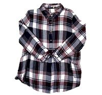 Jodifl Women's S Tunic Top Plaid Boho Pockets Long Sleeve 1/4 Button Down Small